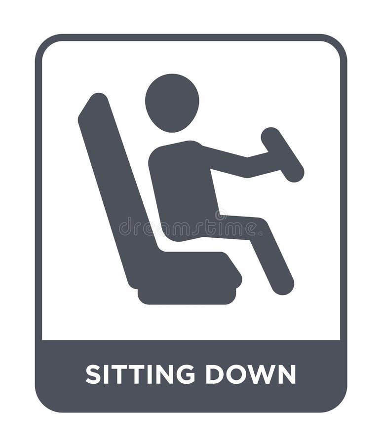 seduta dell'icona nello stile d'avanguardia di progettazione sedendosi icona isolata sul fondo bianco sedendosi l'icona di vettor illustrazione vettoriale