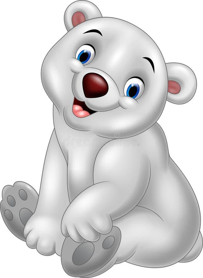 Seduta dell'orso polare del bambino del fumetto royalty illustrazione gratis