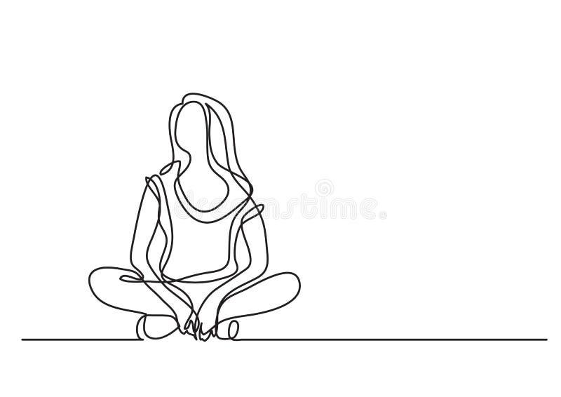 Seduta della donna rilassata - disegno a tratteggio continuo royalty illustrazione gratis