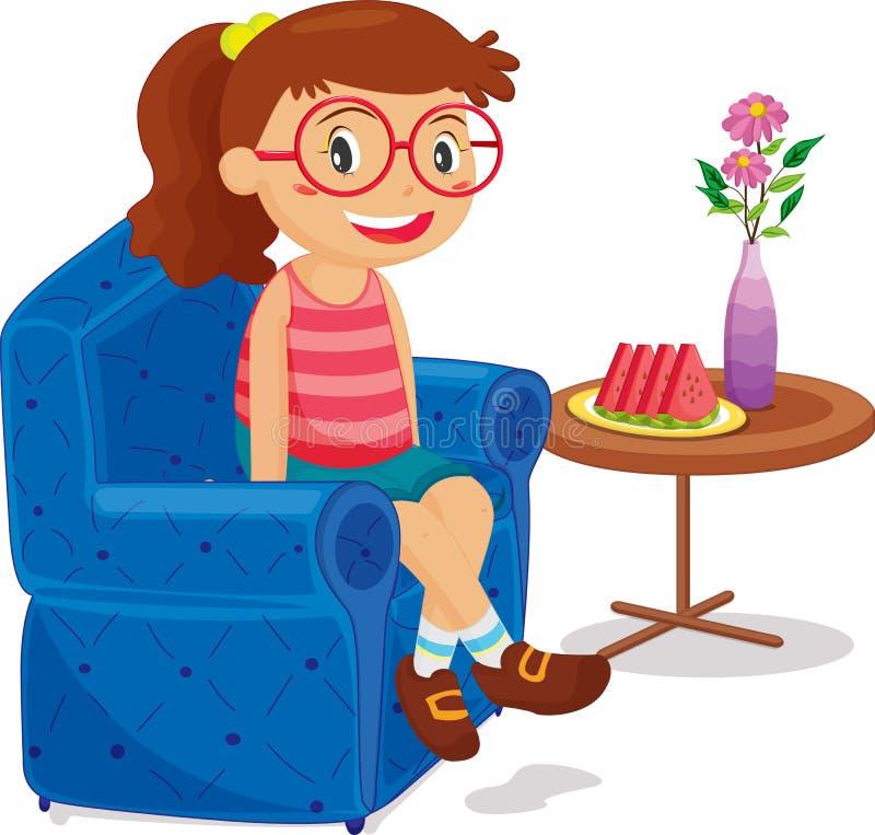 Seduta della ragazza royalty illustrazione gratis