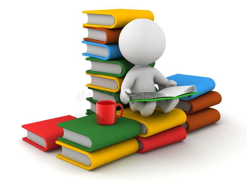 seduta e lettura dell'uomo 3D con i libri e la tazza royalty illustrazione gratis