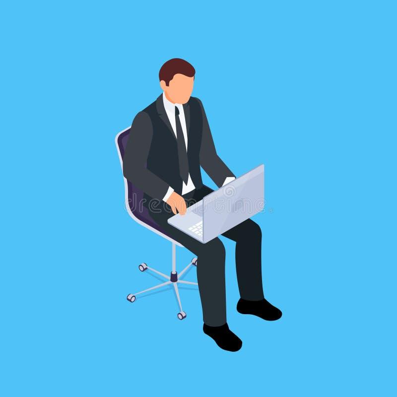 Seduta isometrica dell'uomo d'affari illustrazione vettoriale