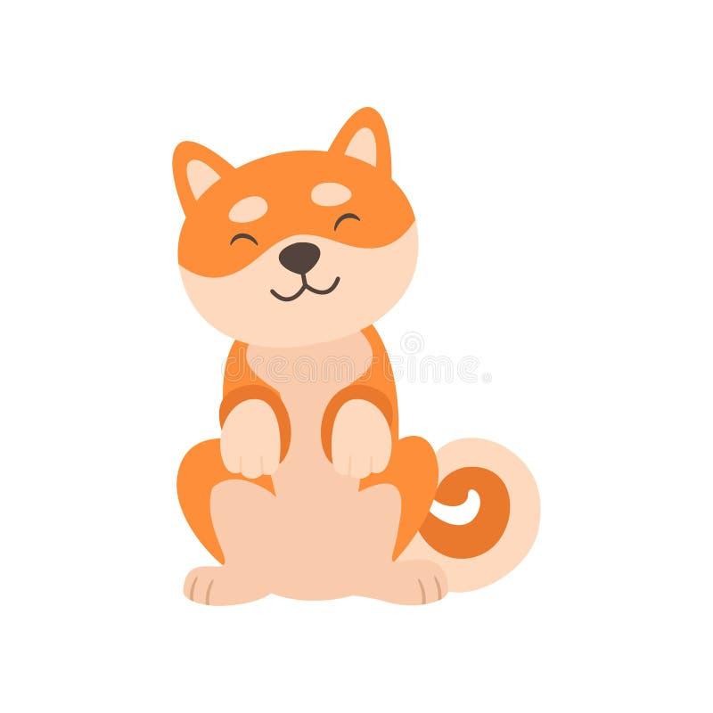 Seduta sveglia del cane di Shiba Inu, illustrazione divertente adorabile di vettore del personaggio dei cartoni animati dell'anim royalty illustrazione gratis