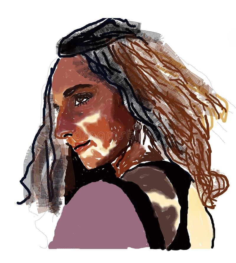 Seduzione sensuale della donna con gli occhi ed i capelli marroni royalty illustrazione gratis