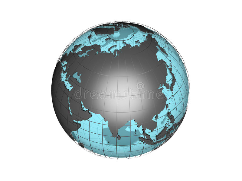 Download See-through 3d Globe Model Showing Asia Stock Illustration - Image: 1411891