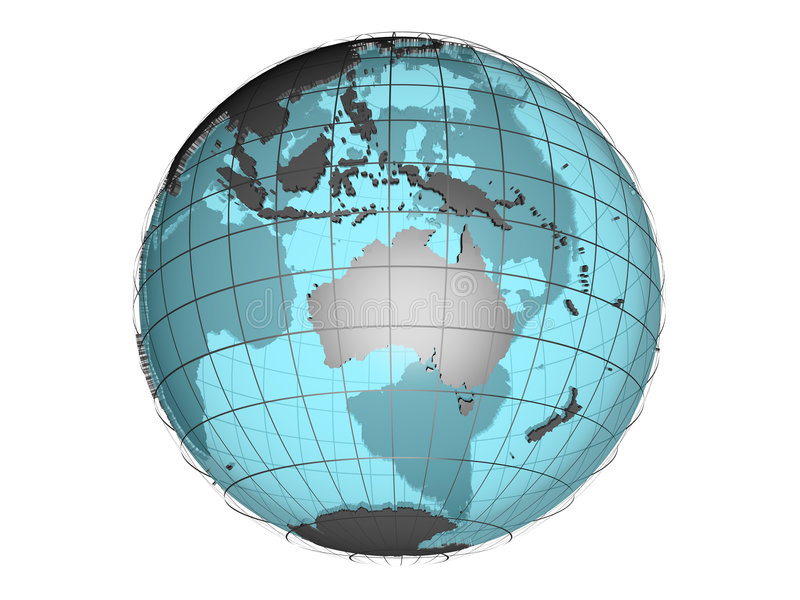 See-through 3d globe model showing Australia and Oceania vector illustration