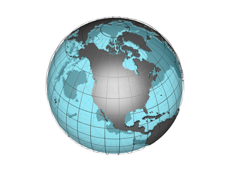 See through 3d globe model showing north america stock illustration 3d model of globe map showing north american continent with meridians and semi transparent oceans on white background with clipping path attached to jpg gumiabroncs Choice Image
