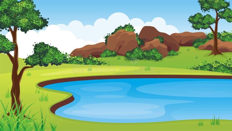 See auf dem Hügel mit felsigem Berg vektor abbildung