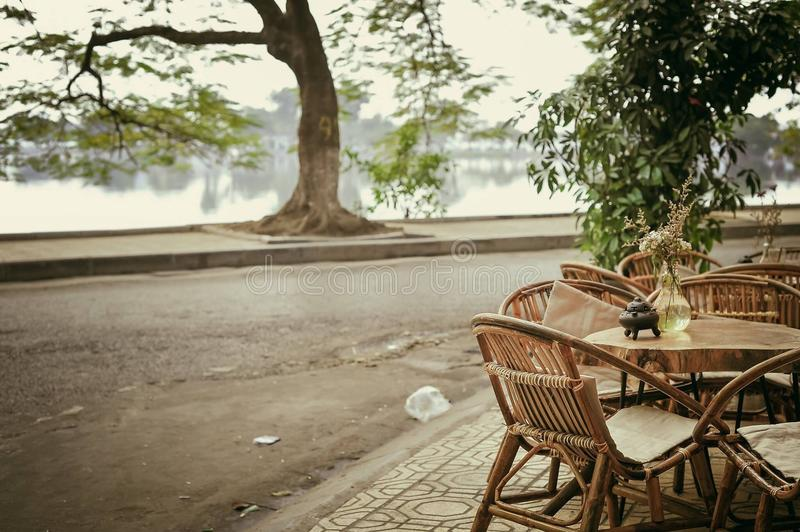See, coffeeshop, Vietnam, Winter, schön, Leben, streetlife stockbild