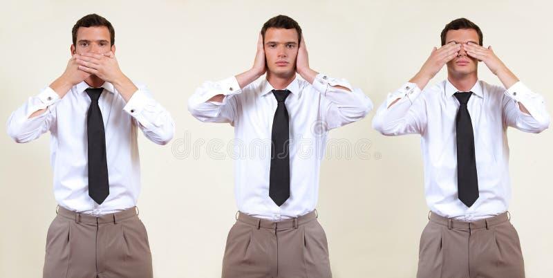 see, hear, speak no evil stock photos