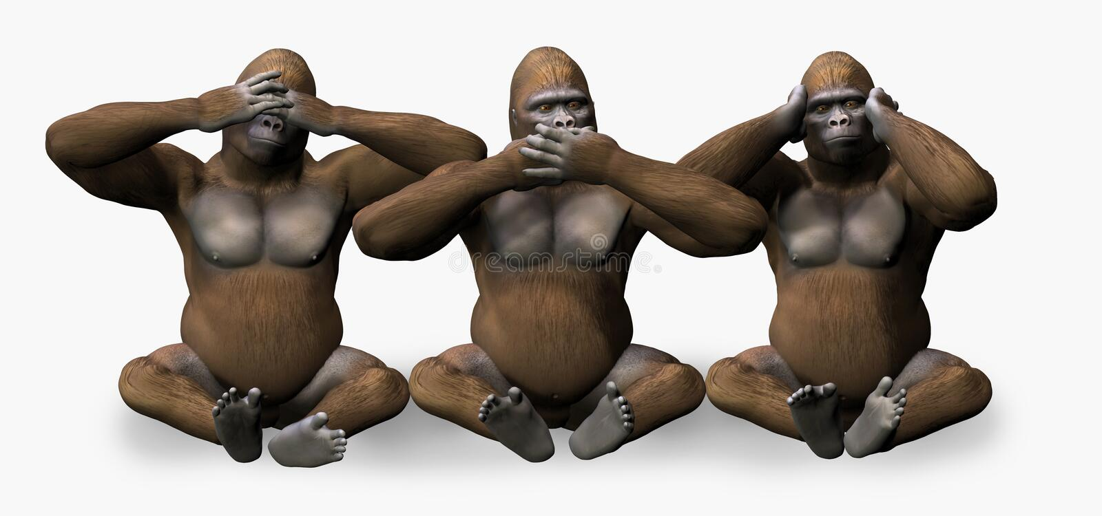 See, Hear, Speak No Evil - includes clipping path stock illustration