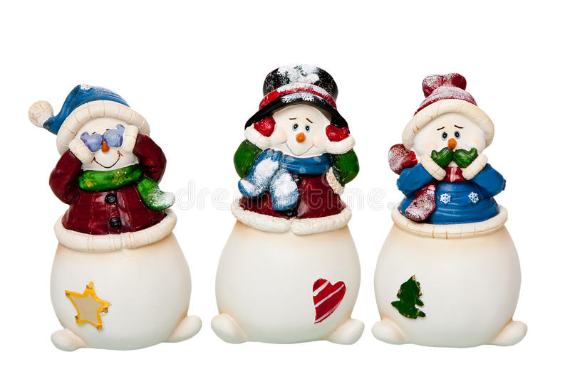 See, Hear, Speak no Evil Snowman royalty free stock images