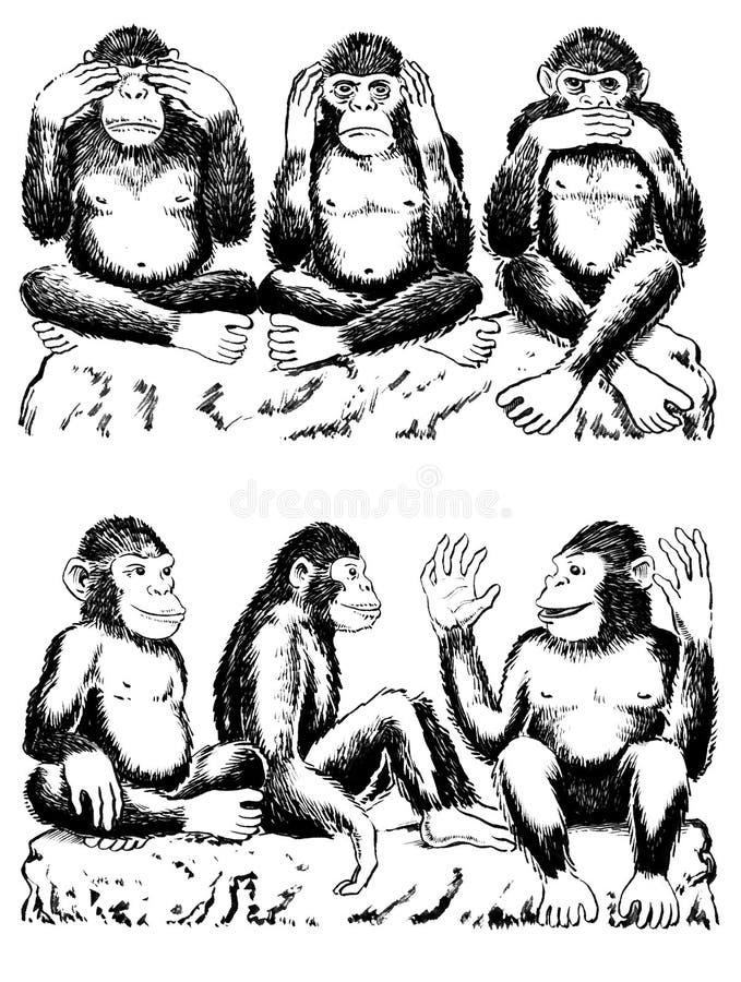 See, hear, speak no evil with variation vector illustration