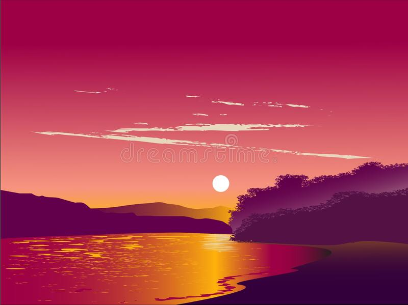 See im Sonnenuntergang stock abbildung