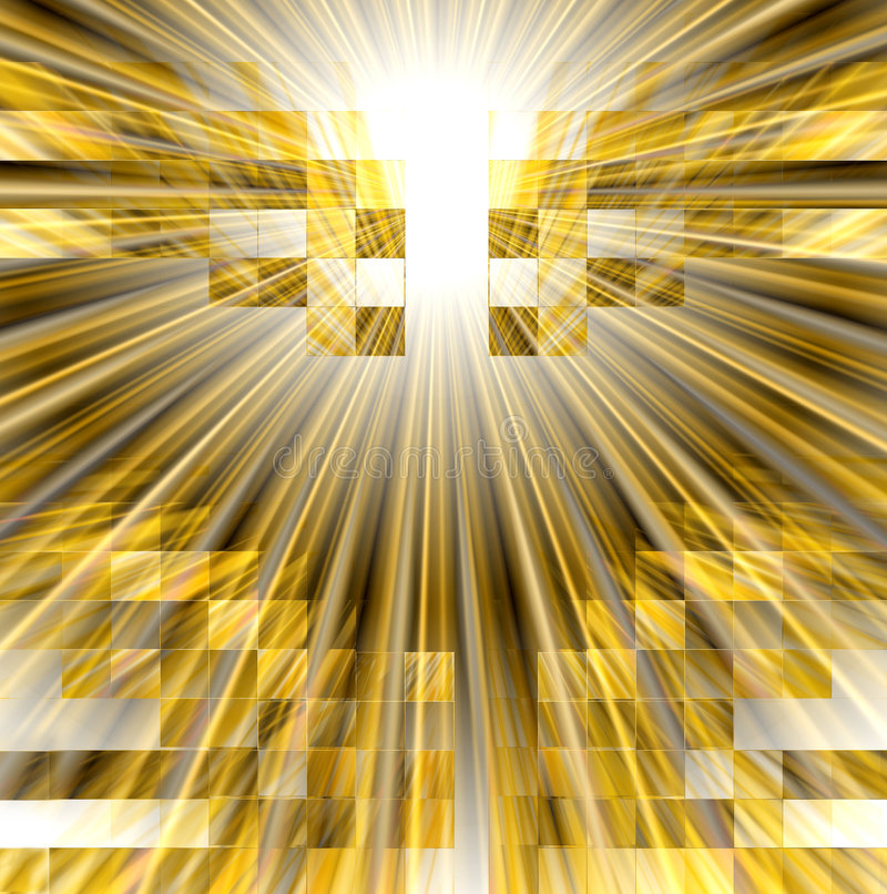 See the light. Abstract conceptual design in golden tones with rays of light bursts among a mosaic of cube boxes vector illustration