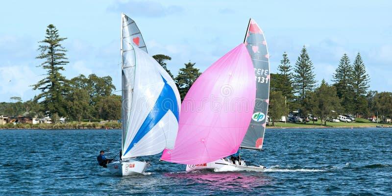 SEE MACQUARIE, AUSTRALIEN - 17. April 2013: Kombinierte Highschool Segeln-Meisterschaften lizenzfreie stockfotografie
