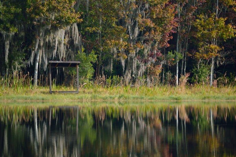 See mit Bäumen im Hintergrund lizenzfreie stockfotos