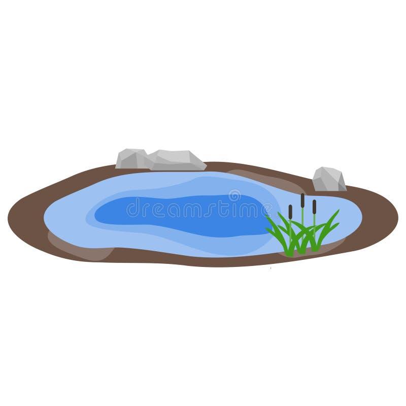 See, See mit Felsen und Schilfe, Wasser lizenzfreie abbildung