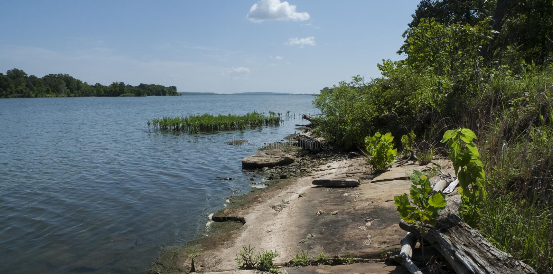 See mit felsigem Ufer in Oklahoma stockfotografie