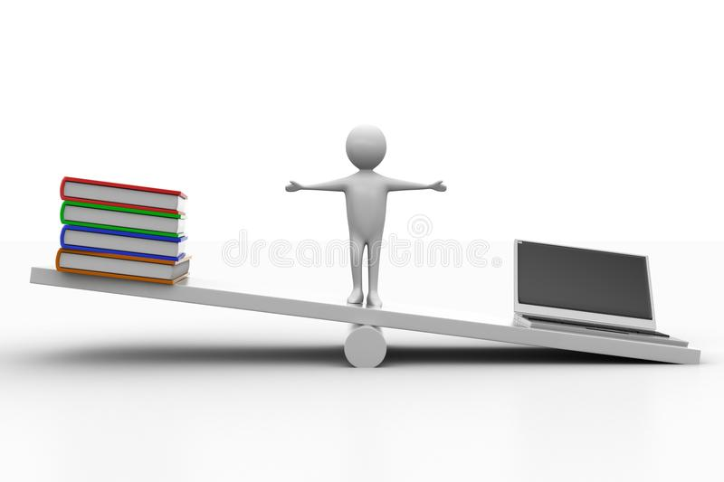 Download See Saw  With Books And Laptop Stock Illustration - Illustration of laptop, area: 39722361
