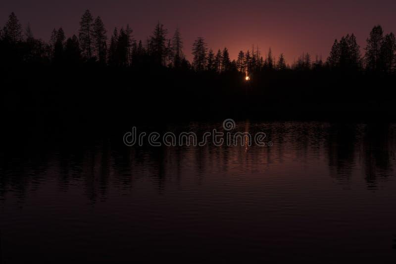 See-Sonnenuntergang-Schattenbild lizenzfreies stockfoto