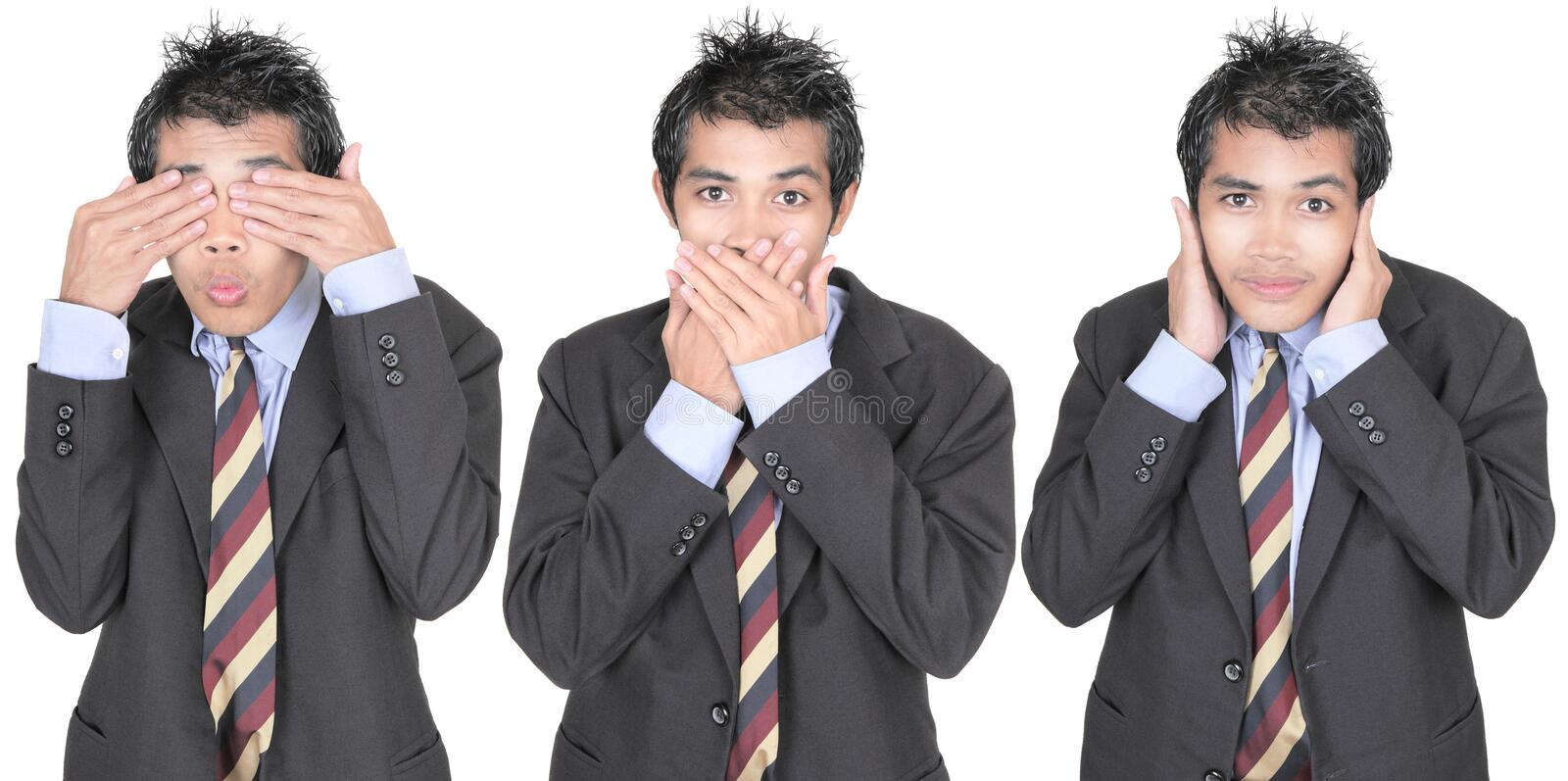 Download See, speak, hear no evil stock photo. Image of asian - 12441044