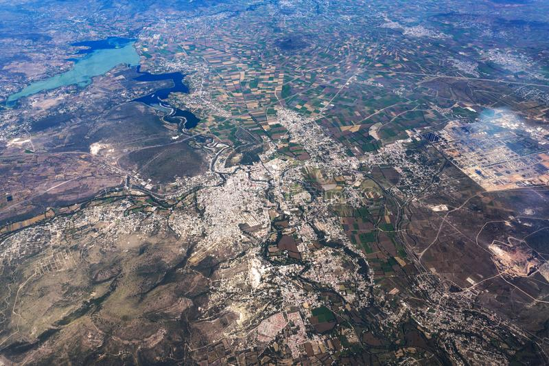 See texcoco nahe Mexiko- Cityvogelperspektivestadtbildpanorama lizenzfreie stockfotos