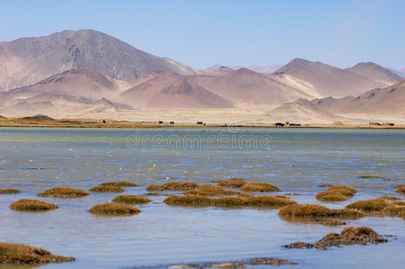 See und Berge in Tibet lizenzfreie stockfotografie
