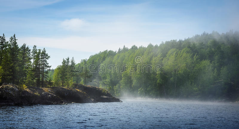 See, Wälder und Dunst über dem Wasser stockbild