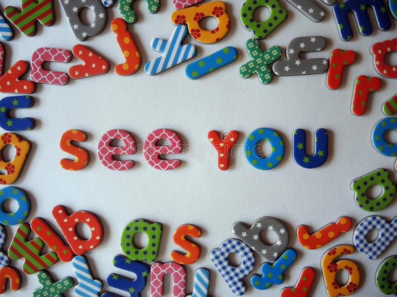 See you banner with colorful letters on one line stock images