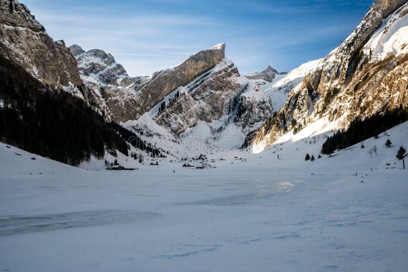 Seealpsee, ελβετικά βουνά κατά τη διάρκεια του χειμώνα στοκ εικόνα με δικαίωμα ελεύθερης χρήσης