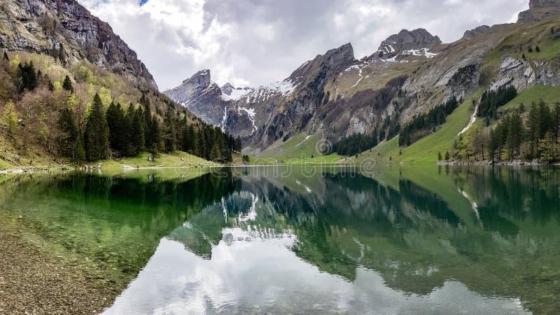 Seealpsee sjö med de schweiziska fjällängarna, Appenzeller land, Schweiz royaltyfri foto