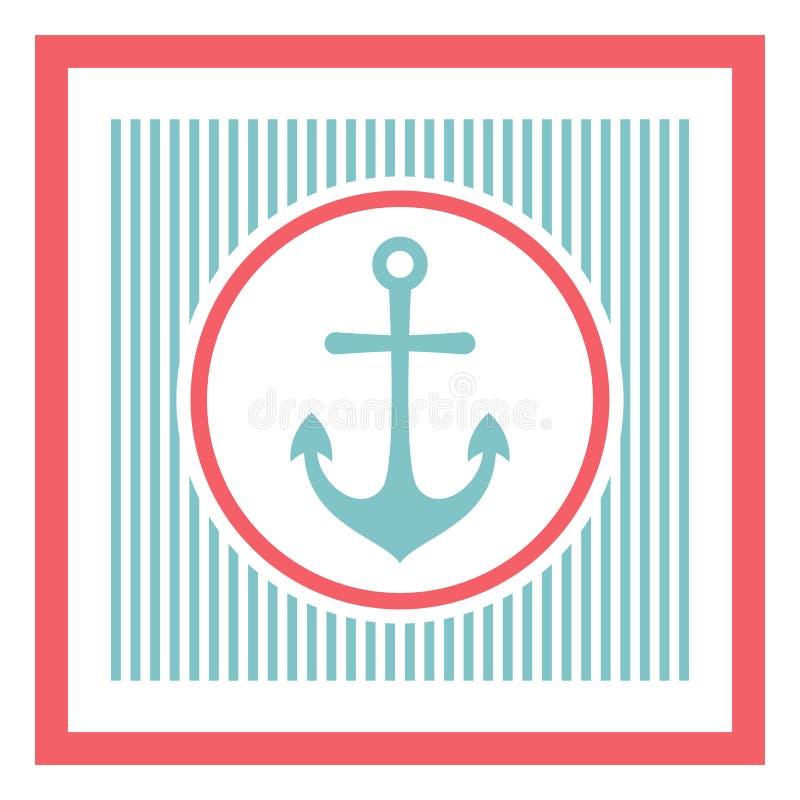 Seeanker auf gestreiftem Retro- Hintergrund Schiffs- und Bootsaufkleber vektor abbildung