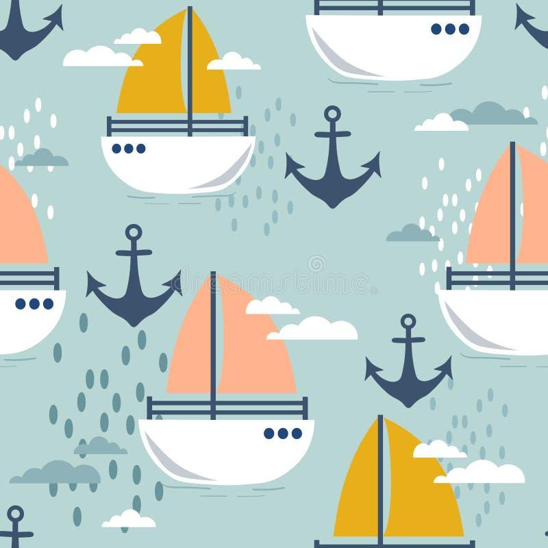 Seeanker und Boote, buntes nahtloses Muster Seestern- und -rollensteine Dekorative nette Tapete vektor abbildung