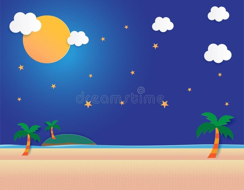 Seeansicht mit Mond und Sternen im Mitternacht, schöner Mond am Strand, Entwurfs-Vektorillustration des Papierkunstarthintergrund vektor abbildung