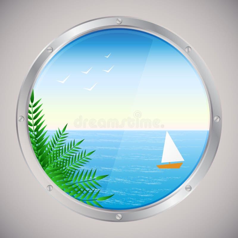 Seeansicht mit Palmen und Schiff stock abbildung