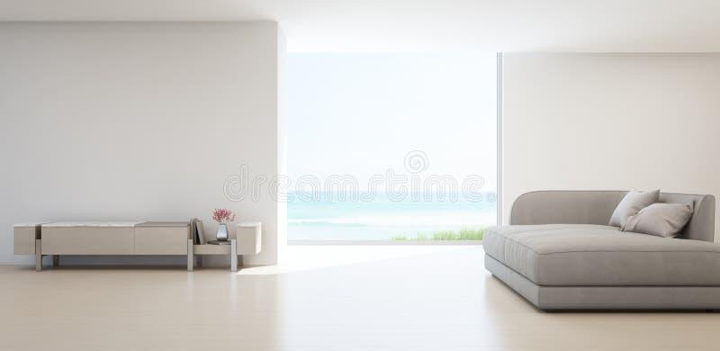 Seeansichtwohnzimmer des Luxussommerstrandhauses mit Fernsehstand und hölzernem Kabinett vektor abbildung