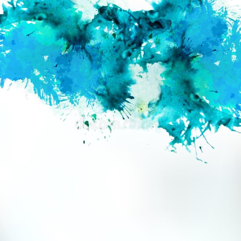 Seeblau zentrierter dekorativer Aquarellhintergrund vektor abbildung