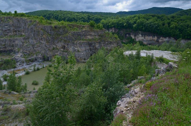 Seeblick unter den Felsen Sommer bewölkter Tag Realistisches Bild lizenzfreies stockfoto