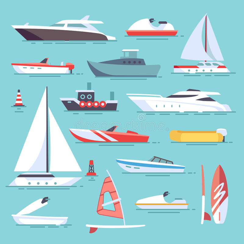 Seeboote und wenige Fischenschiffe Flache Vektorikonen der Segelboote lizenzfreie abbildung
