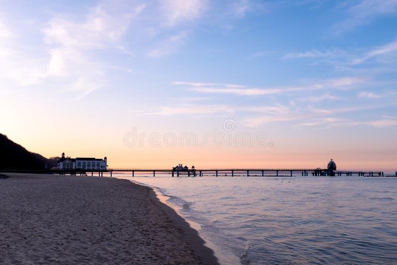 Seebruecke Sellin på ön av Ruegen, Mecklenburg-Vorpommern, Tyskland arkivfoton