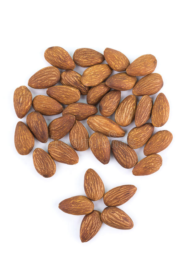 Seed of almonds nuts isolated on white background royalty free stock photography