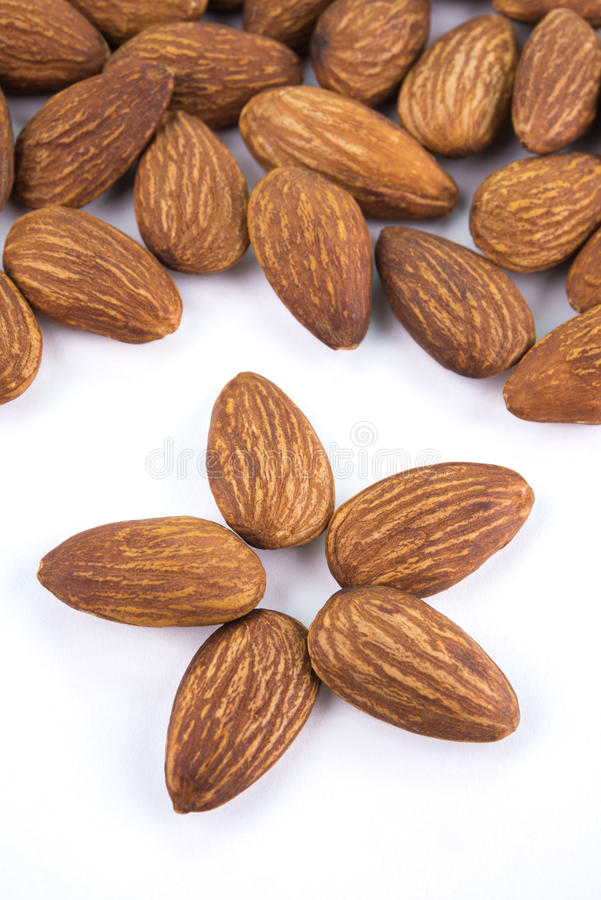 Seed of almonds nuts isolated on white background stock photography