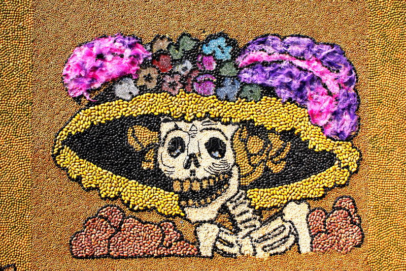 Seed catrina. Representation of the dead as the well known catrina, made of different kind of seeds, as part of the celebration of the day of the dead in mexico royalty free stock photo