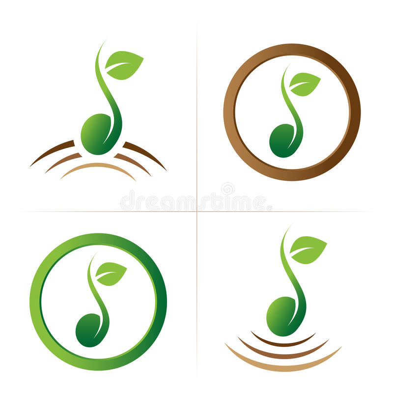 Seed logo symbol collection. Set of isolated vector green seed symbol with green leaf and brown ground on white background. Ideal for corporate logo, icon vector illustration