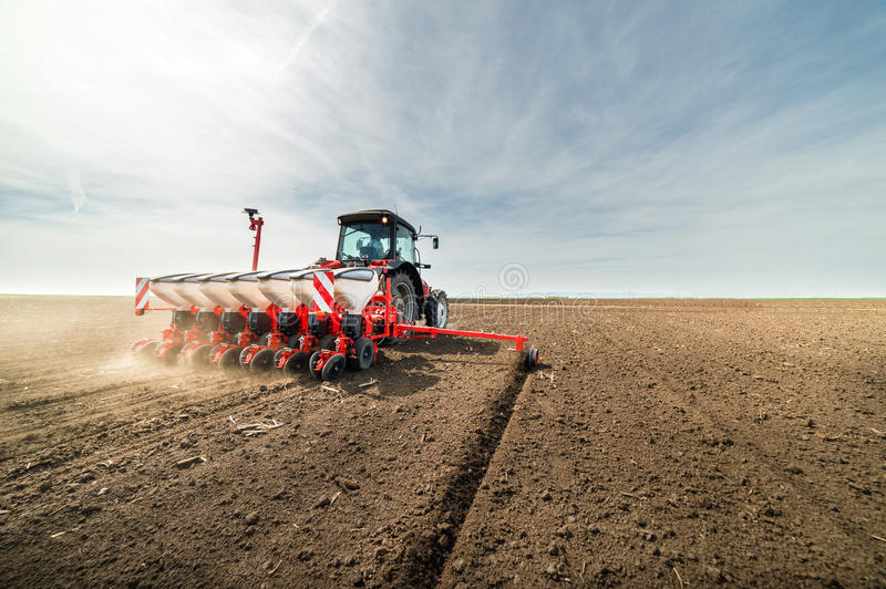 Seeding crops at field stock images