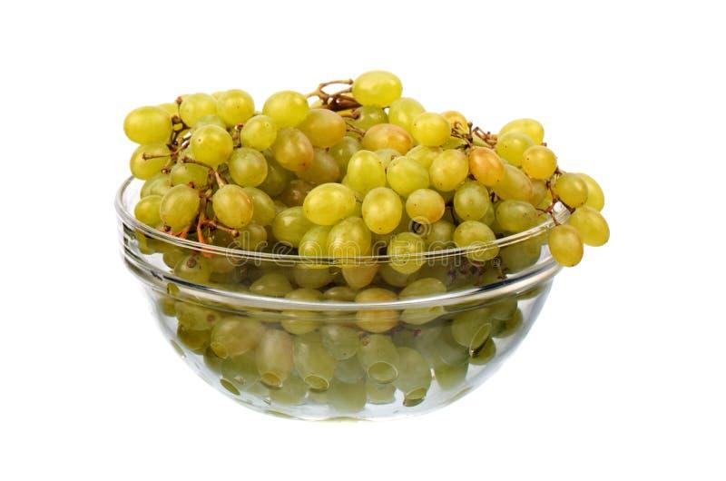 Seedless druvor i den glass maträtten royaltyfria bilder
