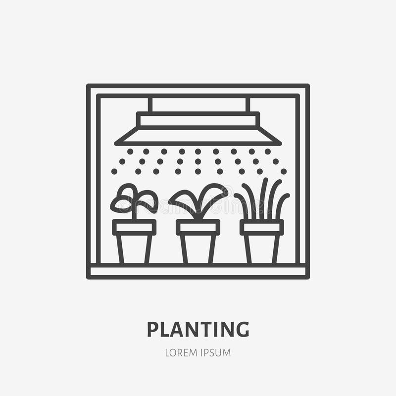 Seedling in grow light flat line icon. Plants growing in flowerpot sign. Thin linear logo for gardening, planting.  royalty free illustration