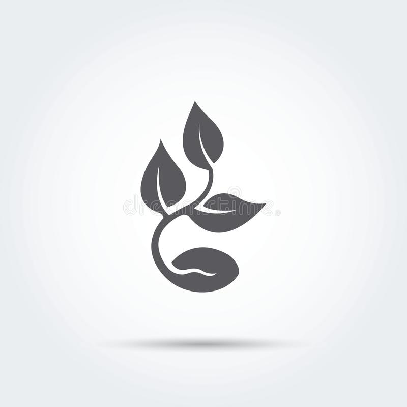 Seedling, process, seed, icon, silhouette. Vector illustration stock images