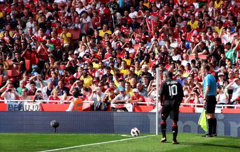 Seedorf, midfielder holandês da corrente alternada Milão imagens de stock royalty free